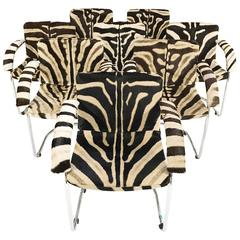 Set of Eight Giovanni Offredi for Saporiti Italia Lens Chairs in Zebra Hide