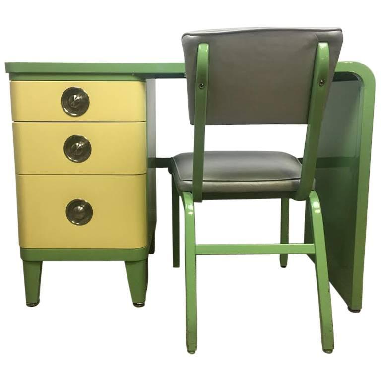 Norman Bel Geddes Art Deco Two-Toned, Three-Drawer Desk and Chair