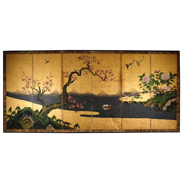 18th Century Antique Japanese Gold Leaf Screen with Blossoms and Birds For Sale