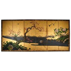 18th Century Antique Japanese Gold Leaf Screen with Blossoms and Birds