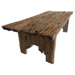 Large Scale Primitive Modern Elm Wood Table