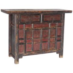 18th Century Antique Chinese Red and Black Painted Cabinet