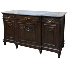 19th Century French Neoclassical Walnut Marble-Top Buffet