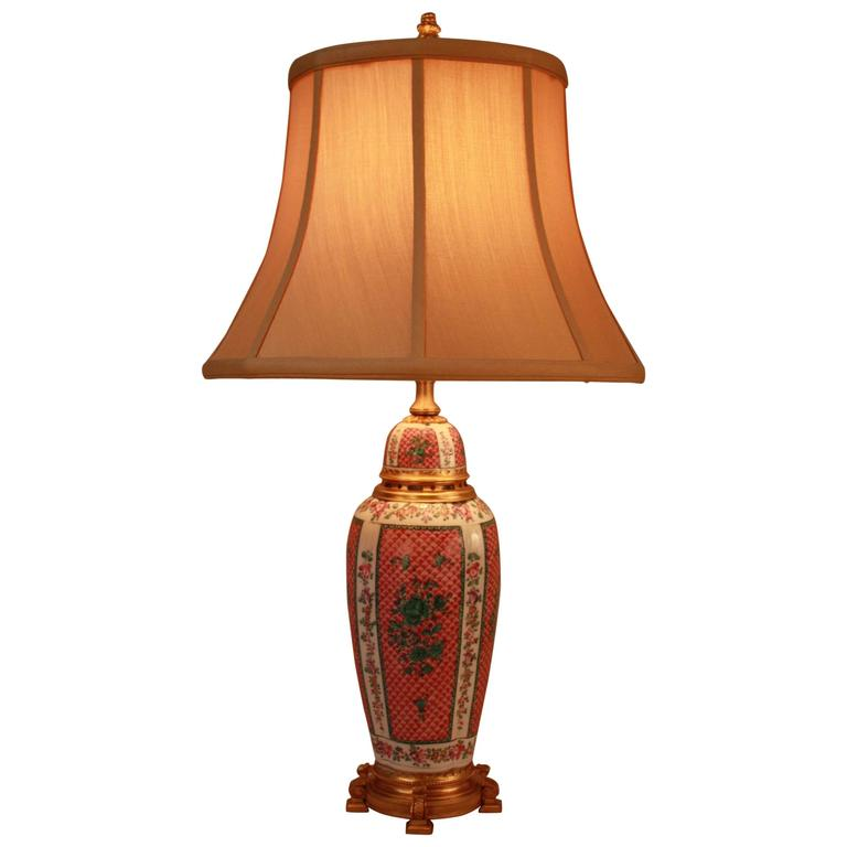 French Porcelain and Doré Bronze Table Lamp 1