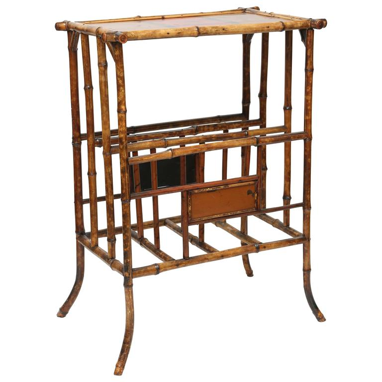 19th Century English Bamboo Magazine Rack with Tabletop