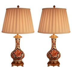 Pair of 19th Century Electrified Porcelain Oil Lamps