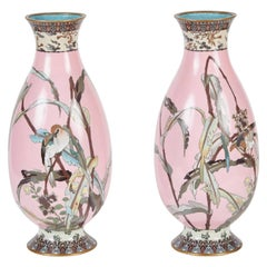 Rare Pair of Japanese Late 19th Century Pink Cloisonné Vases