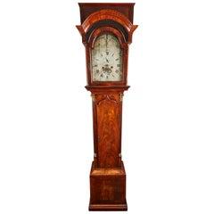 18th Century Mahogany English Flat Top Grandfather Clock by John Skinnier
