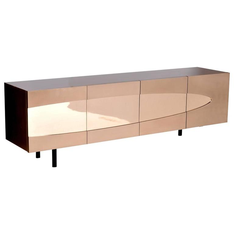 Ellipse Sideboard in Bronze with Turned Ebony Legs and Lacquer Interior For Sale