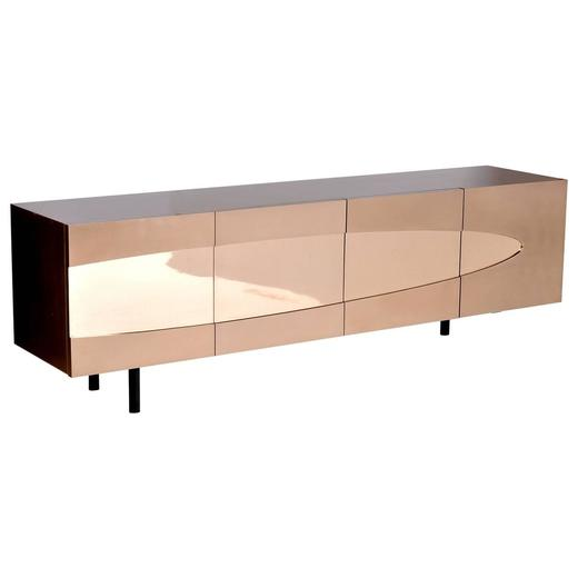 Ellipse Sideboard in Bronze with Turned Ebony Legs and Lacquer Interior