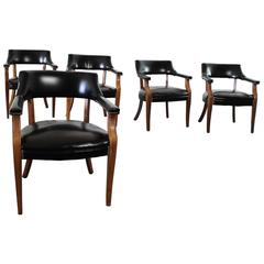 Vintage Walnut and Black Faux Leather Captain Chairs with Nailhead Detail
