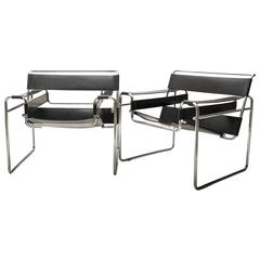 Pair of Armchairs Wassily by Marcel Breuer for Gavina