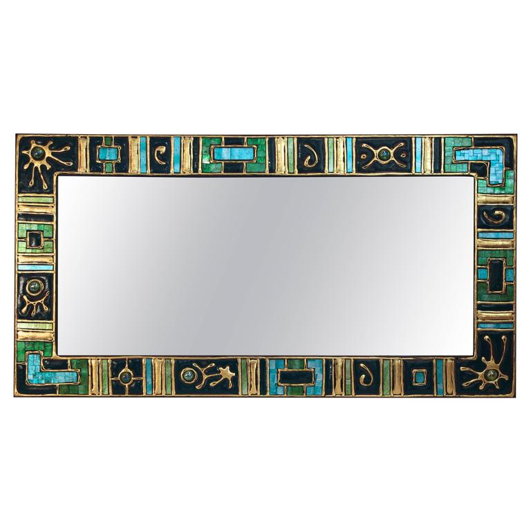 Mirror, Wooden Stand, Glass, Cold Enamel, circa 1970, France
