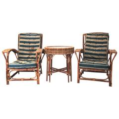 Set of Four Chairs and Center Table, Rattan, circa 1960, France