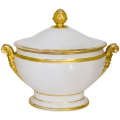Antique Porcelain Tureen with Gold,perfect Centerpiece