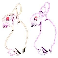 Pink, White and Red Neon Bunny Rabbits