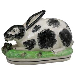 19th Century Staffordshire Pottery Figure of a Rabbit