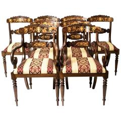 Set 8 Bespoke Handmade Burr Walnut Marquetry Regency Dining Chairs