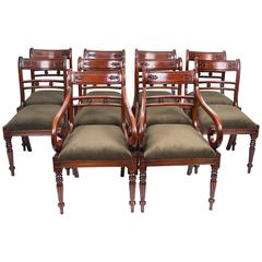 Grand Set of Ten Regency Style Tulip Back Dining Chairs