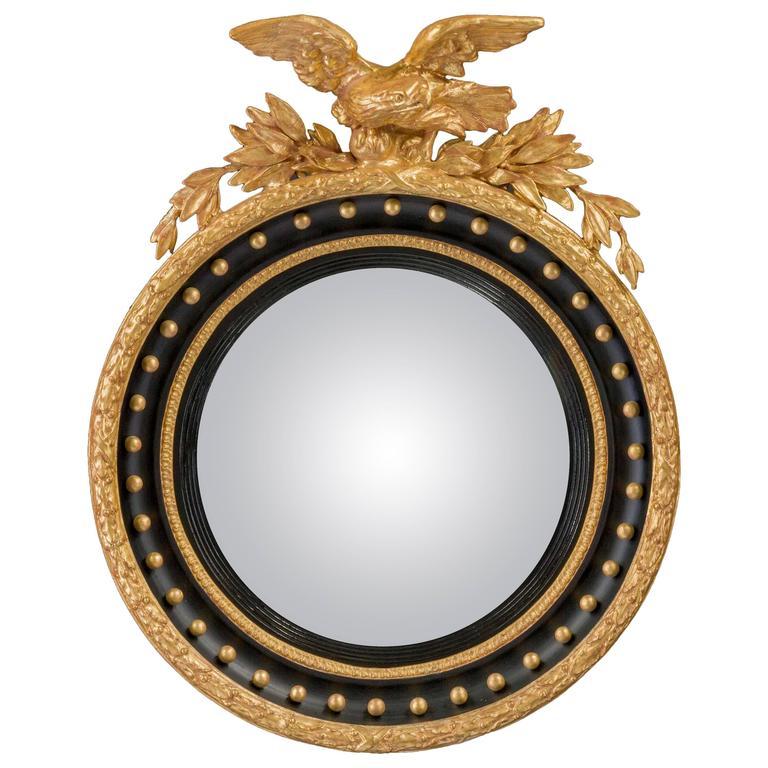 Regency Period Convex Mirror Surmounted with an Eagle in Flight