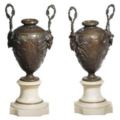 Fine Pair of Patinated Bronze and Marble Urn Shaped Vases