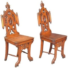 Four Gothic Revival Oak Hall Chairs