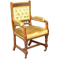 Set of Five Arts and Crafts Oak Side Chairs and an Elbow Chair, Charles Bevan