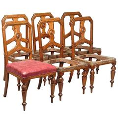 Charles Bevan, attr for Gillow's. A Set of Six Gothic Revival Oak Dining Chairs