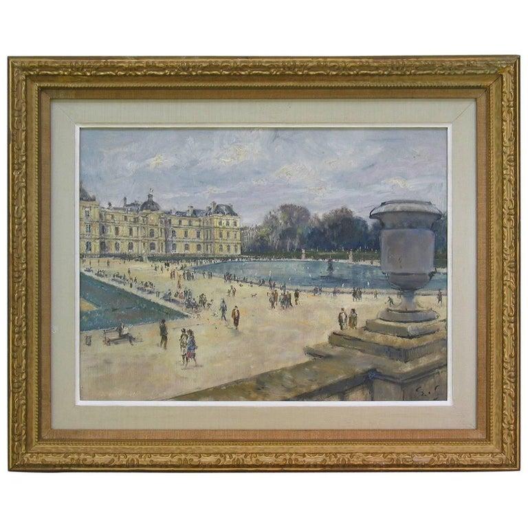Impressionistic Style Painting of Le Jardin des Tuileries, Paris, France For Sale