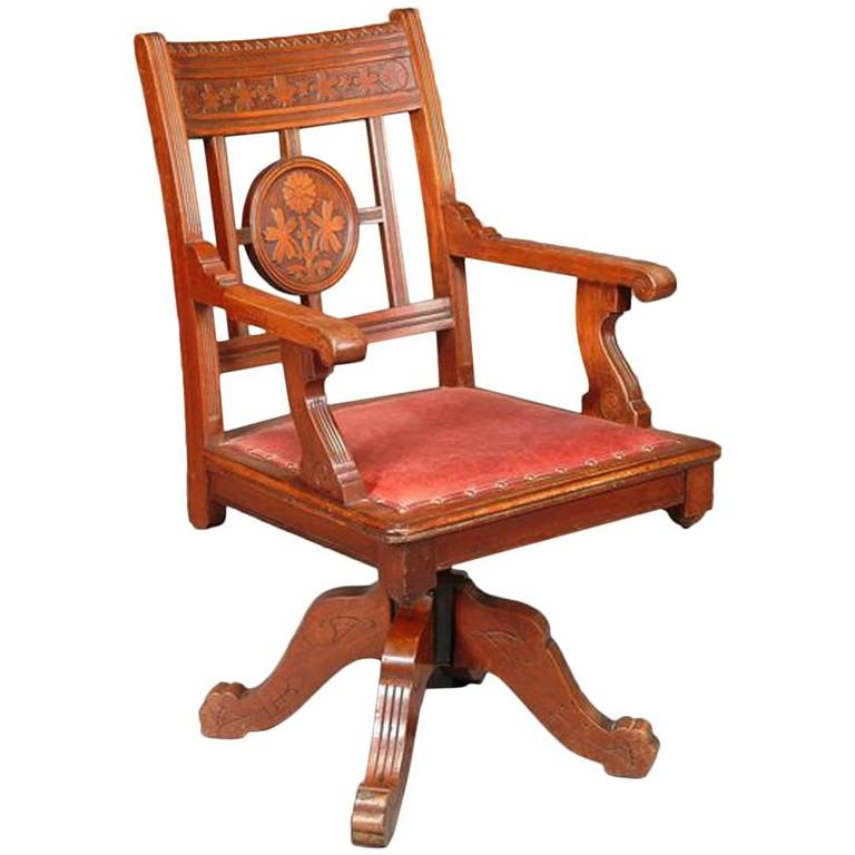 Aesthetic Movement Swivel Desk Armchair in the Manner of C L Eastlake