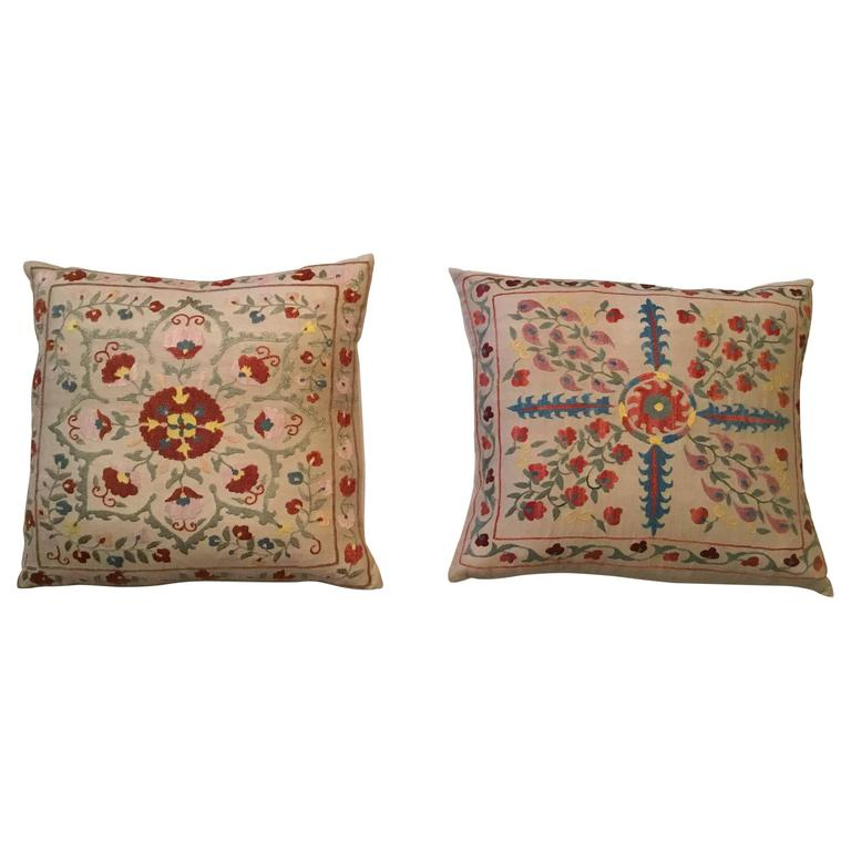 Pair of Vintage Suzani Pillows