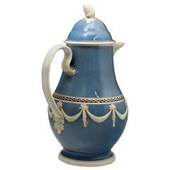 Antique Mocha Type Pottery Coffee Pot Slip Decorated Leeds Pottery England