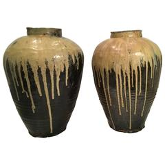 Two Large Antique Chinese or Japanese Vases