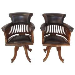 Pair of 19th Century Mahogany Revolving Desk Chairs