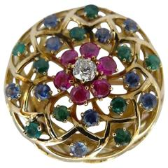 1970s Sapphire Ruby Emerald Diamond Gold Brooch