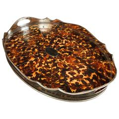 Victorian Silver Plate Butlers Tray Faux-Tortoiseshell Platter