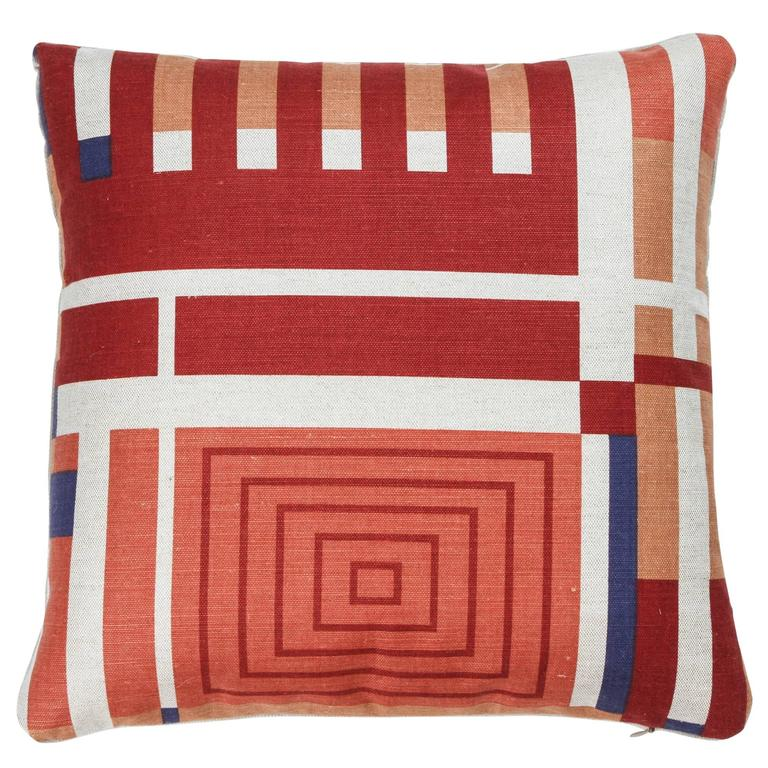 Schumacher Linen Frank Lloyd Wright Pillows In Red Blue Orange And Ivory