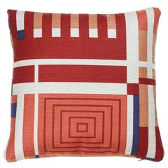 Schumacher Linen Frank Lloyd Wright Pillows in Red, Blue, Orange and Ivory
