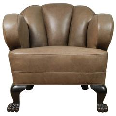 Antique Bear Claw Chair/Leather, circa 1910