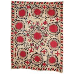 Antique Uzbecki Samarkand Susani Textile Wall Hanging