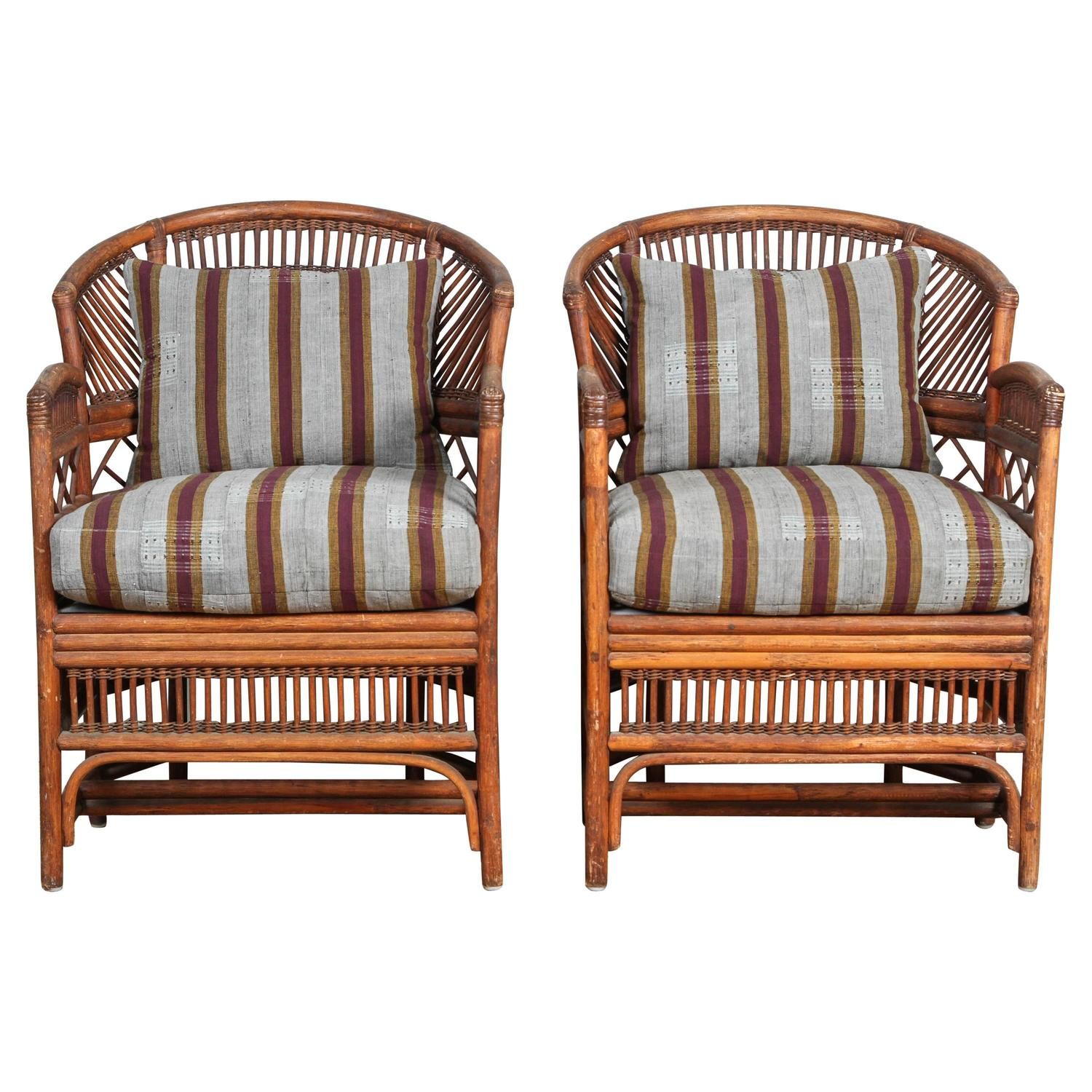 A Pair Of Period French Chairs With Missoni Fabric At 1stdibs: Pair Of Rattan Chairs With Vintage African Textile