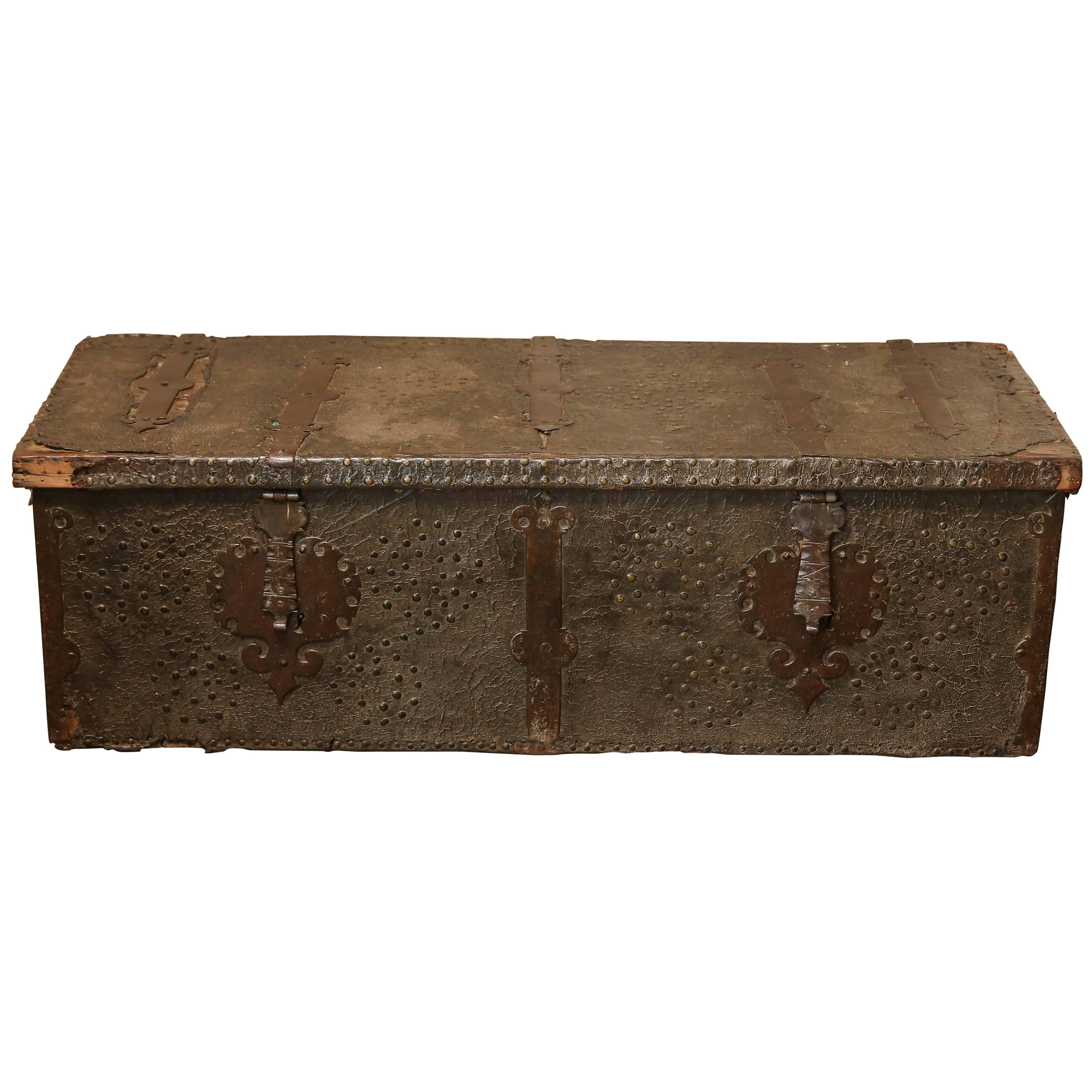 Late 16th Century Spanish Leather Trunk