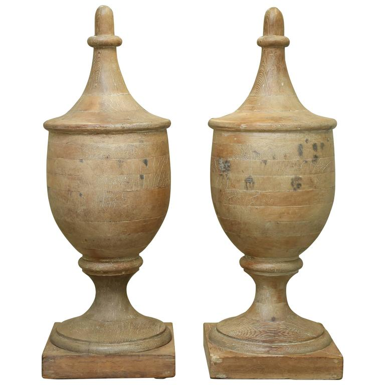 Pair Of Very Large Vintage Wooden Finials For Sale At 1stdibs