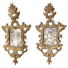 Pair of 18th Century Venetian Mirrors with Original Mercury Glass