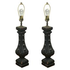 Pair of Iron Baluster Lamps