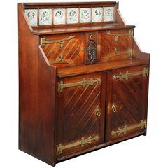 John Pollard Seddon Style, Gothic Revival Oak Cabinet, Minton Shakespeare Tiles