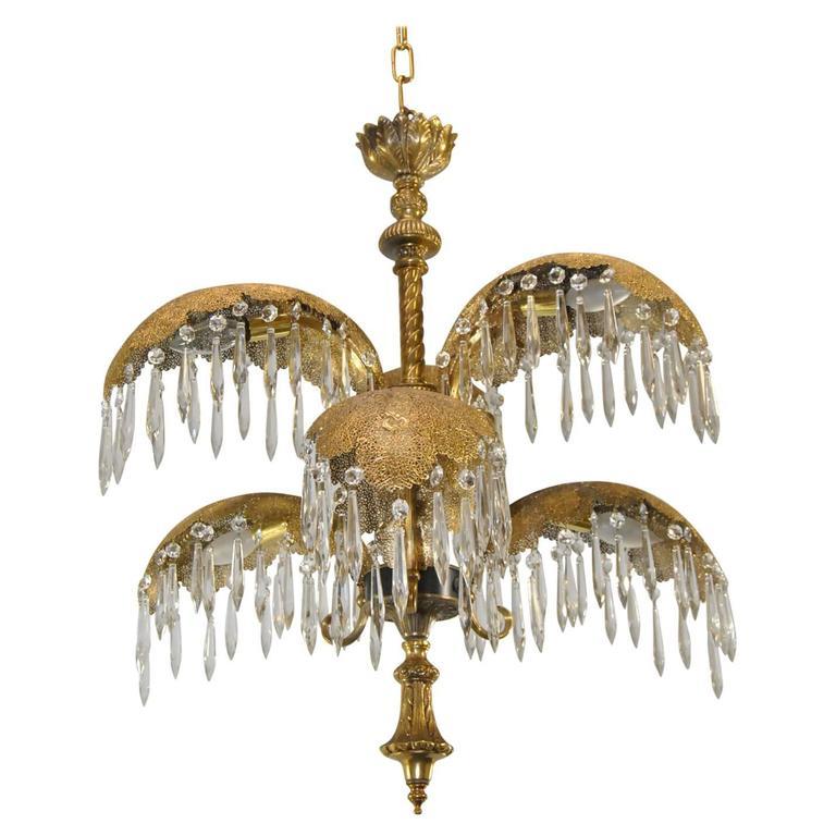 Mid century italian six arm brass palm leaf crystal chandelier at mid century italian six arm brass palm leaf crystal chandelier for sale aloadofball Gallery
