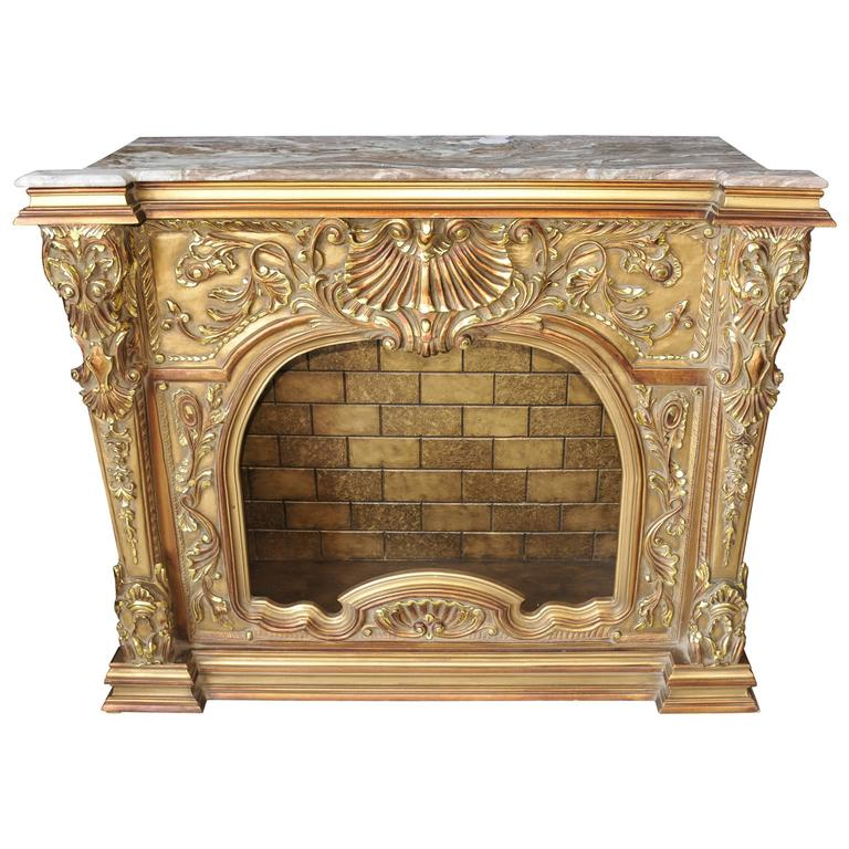 Carved French Louis Xvi Style Gilt Fireplace Mantle Fireplace At 1stdibs