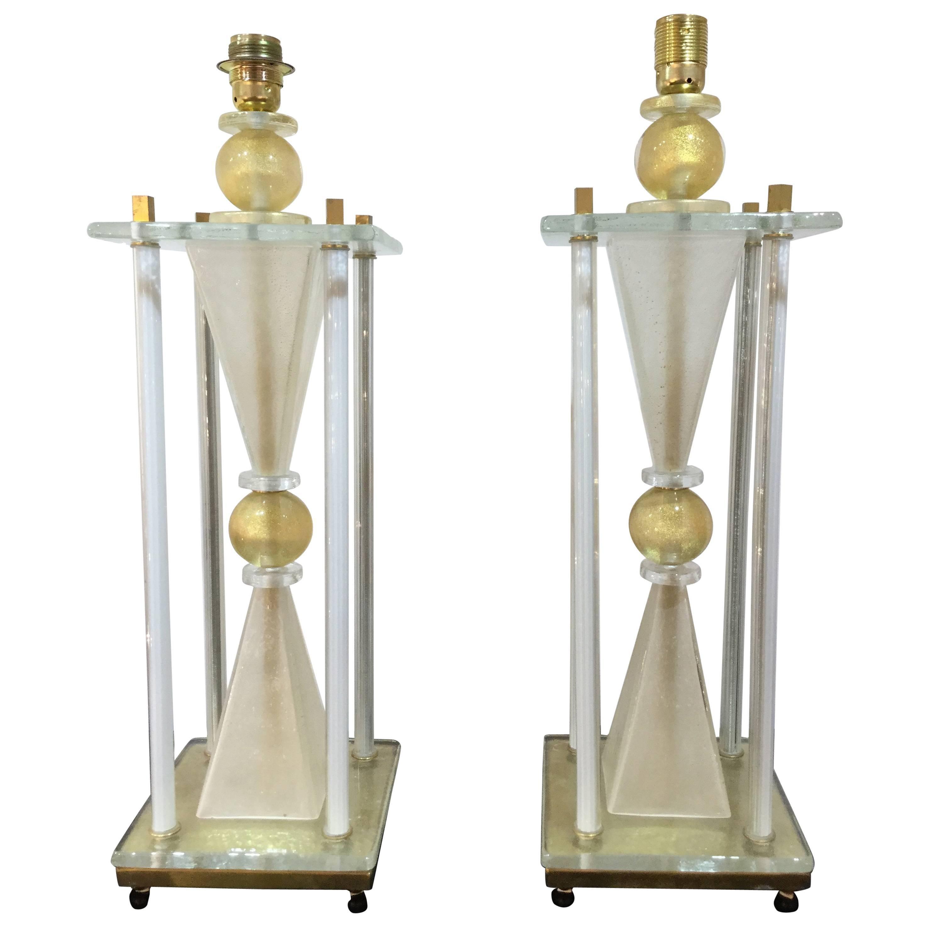 Pair of Italian 'Hour Glass' Lamps in Murano Glass