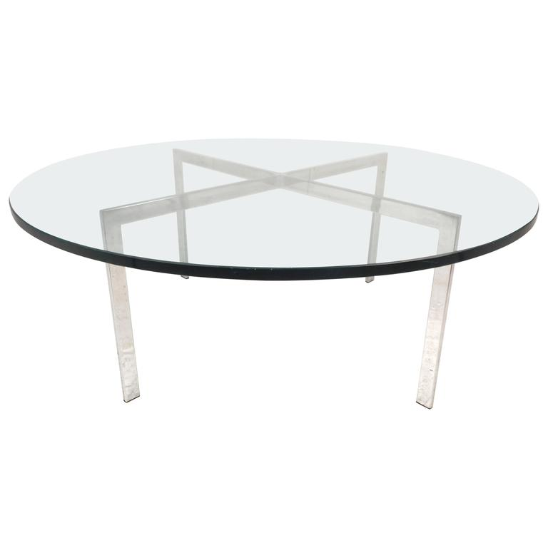 Mid Century Modern X Base Circular Chrome Coffee Table For Sale At 1stdibs
